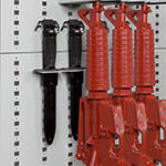 Single-Capacity Bayonet Holders On Expandable Weapon Rack