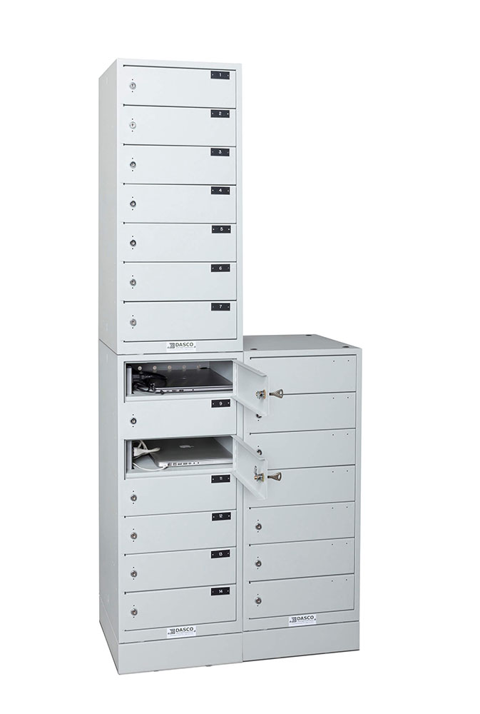 7-Compartment Powered Laptop Tower Stacked And Side-by-Side