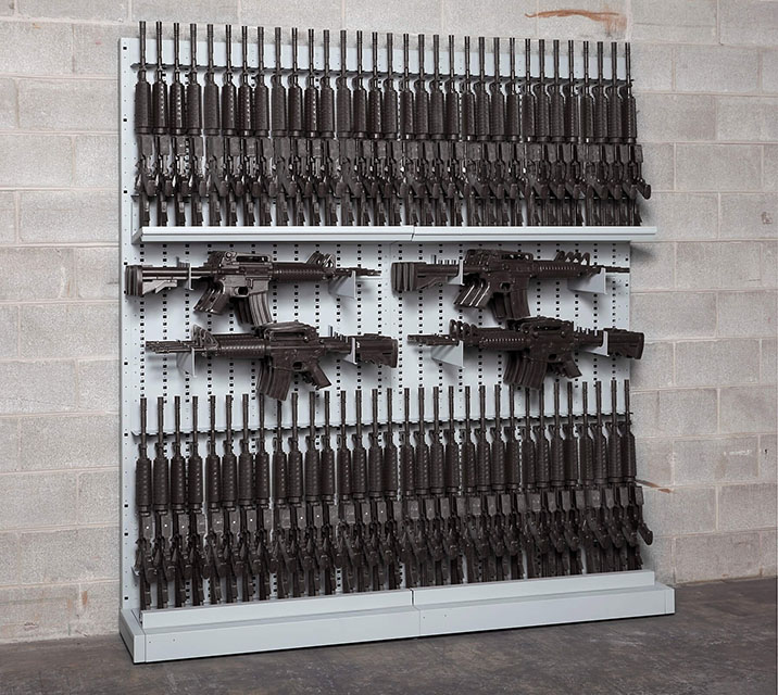 Single-Sided Expandable Weapon Rack With High-Density Weapon Storage Systems