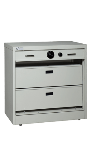 36 Inch High S&G Secure Storage Cabinet Open With File Drawers - National Master Standing Offer