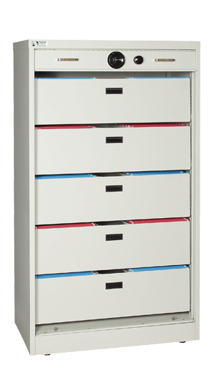 66 Inch High S&G Secure Storage Cabinet With Five Filing Bin Drawers - National Master Standing Offer