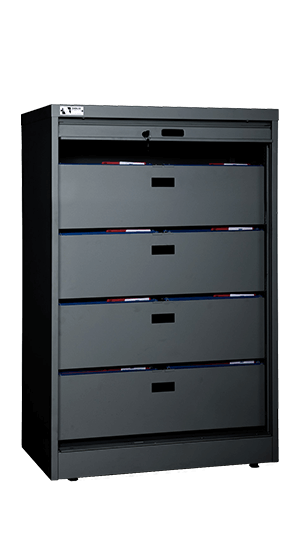 55 Inch High Secure Media Storage Cabinet Open With File Bin Drawers