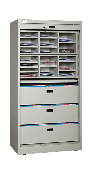 72 Inch High Secure Media Storage Cabinet With Bin Drawers and Mail Sorter Inserts