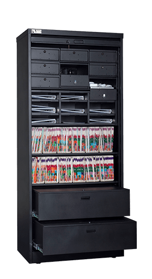 83 Inch High Secure Media Storage Cabinet Open
