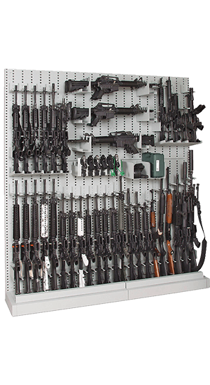 Single-Sided Expandable Weapon Rack With Firearms