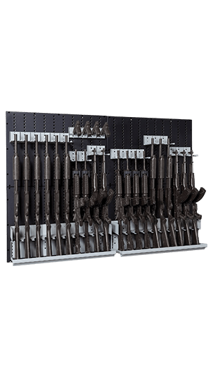 Weapon Storage Wall Panels With Components and Weapons