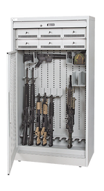 72 Inch High Weapon Storage Cabinet Open With Security Gate, Handgun Compartments and Firearms