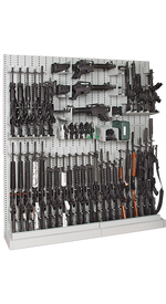 Single-Sided Expandable Weapon Rack With Weapon Storage Components